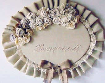 Plaque Welcome style shabby chic