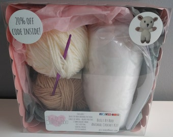 Lamby the Sheep Crochet Kit - learn to crochet, craft kit, amigurumi animals, cute, crochet patterns, make an animal, crafting, lamb, farm