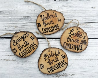 Baby's First Christmas Ornament Wood Slice Hand Lettered Rustic Tree Ornament Hanging made to order, quantity discount, Holiday Christmas Or