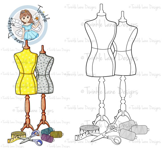 Mannequin, Digi Stamp, Fashion Clipart, Sewing, Printable, Papercraft, A5 Page, Fashionista Clipart, Buttons, Adult Colouring, Dressmaking