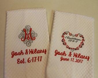 Personalized Kitchen towel, kitchen towel, Waffle Towel, embroidered kitchen towel, Wedding gift, Bridal shower gift, anniversary, monogram