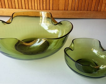 Vintage Avocado Green Accent Modern Chip and Dip Set by Anchor Hocking