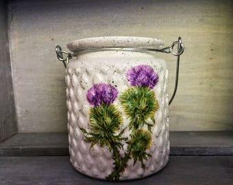 Decorative Thistle Jar, tea light, home decor, table decor, pen holder