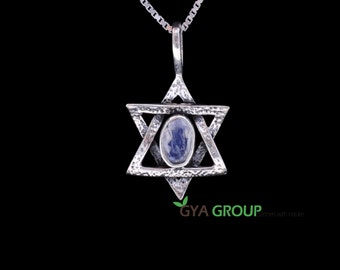 A stunning 925 Sterling Silver Judaica Magen David pendant with Agate gemstone