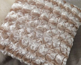 Handmade Gold/Beige Velvet Cushion, unusual bubble type effect stitched into fabric