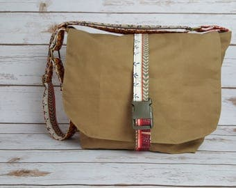 Handmade waxed canvas and fabric messenger bag