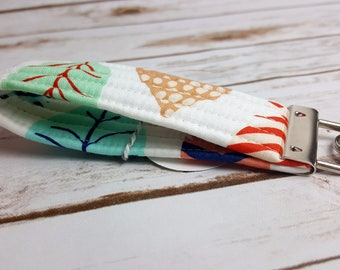 White and Multicolored Feather Quilted Key Fob/Key Ring