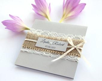 Rustic Wedding Invitation, Natural Burlap Wedding Invitation, Lace Invitation, Country Style Wedding Invitations, Lace and Burlap Invitation
