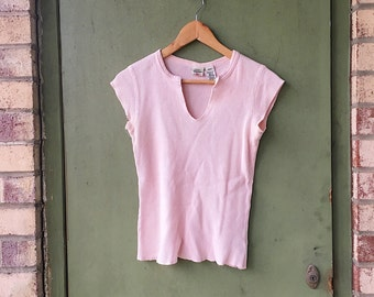 Vintage Ralph Lauren Half Sleeve Tee // Light Pink Blouse // Thermal Waffle Blouse // 90's Tight V Neck Tee