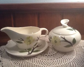 Vintage, Midcentury, Dixie Dogwood, Joni, Stetson, sugar bowl, creamer and plate,  southern, lime green,country, cottage,