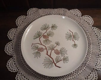 """Vintage, Stetson Marquest Brown and Green pine bough 9 1/4"""" dinner plate, midcentury, country, cabin, upnorth, western, northwest"""