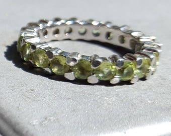 Beautiful Sterling Silver Peridot Gemstone Anniversary/Eternity/August Birthstone Ring
