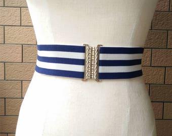 2 inch Navy/Off White belt,Elastic belt,Stretch Belt,Cinch BeltWaist belt, Elastic waist belt,Waist belt -(JF)000/370-1