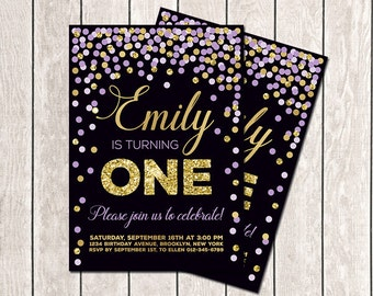 Girl Birthday Invitation First Birthday Invitation Purple Gold Confetti Invitation Lavender Gold Printable Birthday Invitation Any Age