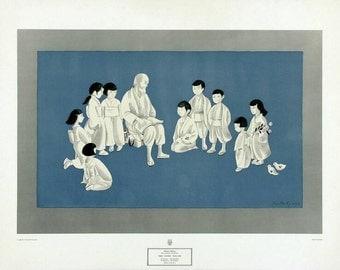 Martha Leigh Hyams The Story Teller 1960 Serigraph