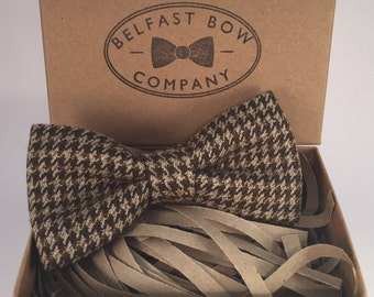 Handmade Tweed Bowtie in Houndstooth - Adults & Boy's sizes Available