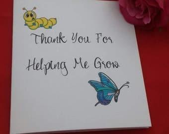 Thank You for Helping Me Grow Teacher Card, End of Term Cards, Teachers Cards, School Leaver Card,  Card For Best Teacher, Nursery Cards,