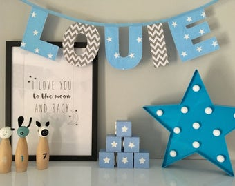 Boys Personalised Blue And Grey Name Bunting
