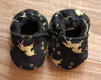 Unicorn Baby Booties, Gold and Black Baby Shoes, Fantasy Baby Shoes, Baby Girl Shoes, Fabric Baby Shoes, Crib Shoes, Cloth Baby Shoes