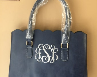 Personalized Monogrammed Navy Faux leather scalloped bag, scalloped tote, scalloped purse, Christmas Gift