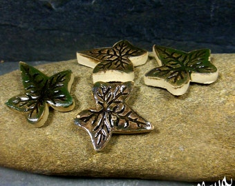 Fairy Garden Miniature Leaves |  Stepping Stones Set #55 | Set of 4 Small Green Ivy  Leaves