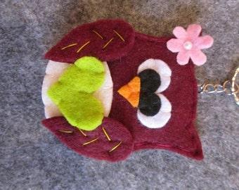 Keychain with Owl Bordeaux; Felt keychain;  Gift idea; Felt OWL; Handmade.