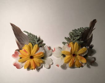Handmade Floral Feathered Festival Nipple Pasties