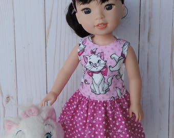 Wellie Wishers Aristocats Marie Disney Dress and Headband for American Girl 14 inch dolls