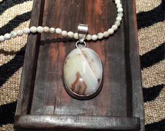 Sterling silver agate pendant with opal necklace