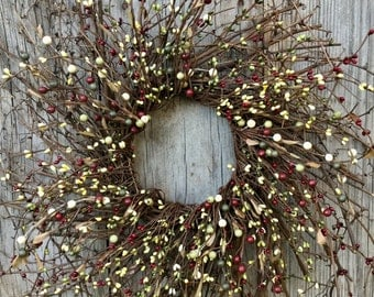 Twig Wreath with Red and Green Pip Berries, Pip Berry Wreath, Christmas Wreath, Winter Wreath, Primitive Wreath, Country Wreath, Free Ship