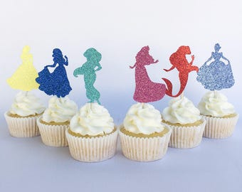 Disney princess cupcake toppers | Belle cupcake toppers | Snow white cupcake toppers | Princess cupcake toppers | Cinderella | Aurora