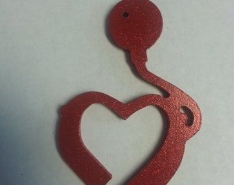 Red Glitter Cochlear Implant Ornament