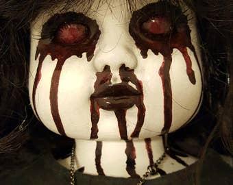 "Bloody-eyed Creepy OOAK Horror Doll - Porcelain Repaint - 25"" Tall"