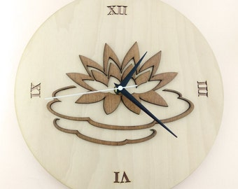 """Wooden wall clock """"WATER LILY"""""""