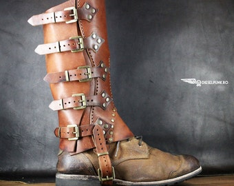 Steampunk Gaiters - Leather Half Chaps - Hiking gaiters - Cowboy Chaps