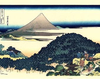 "Japanese Ukiyo-e Woodblock print, Katsushika Hokusai, ""The Circular Pine Trees of Aoyama, Thirty-six Views of Mount Fuji"""