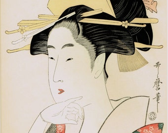 "Japanese Ukiyoe, Woodblock print, antique, Utamaro,  ""Portrait of a Courtesan ( Geikoku to Shirushi )"""