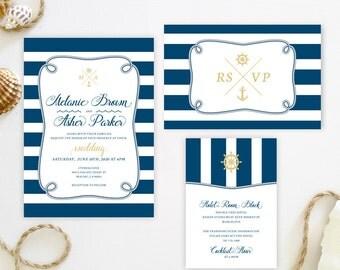 Cruise ship wedding invitation sets printed on luxury shimmer card stock | Anchor themed wedding invitations | Nautical invitations