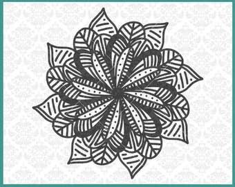 CLN0364 Mandala Zentangle Filigree Flower Petal Sunflower SVG DXF Ai Eps PNG Vector INstant Download Commercial Cut File Cricut Silhouette