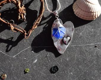 Rare Blue Seaglass Heart Necklace