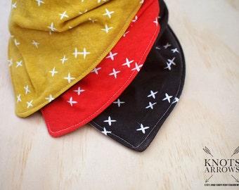 Riley Red Mustard Black White Plus Crosses Christmas #42 knit bib baby bandana bib, baby bib, bandana bib, scarf bib, drool bib, dribble bib