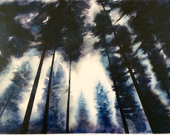 Forest painting, watercolor pine tree print, forest painting print, forest watercolor print, pine tree print, Misty trees, forest