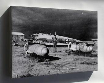 Canvas 24x36; He 111 Wreck W Bombs Benghazi 1943