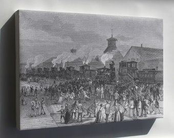 Canvas 24x36; Blockade Of Engines At Martinsburg, West Virginia Great Railroad Strike Of 1877 P1