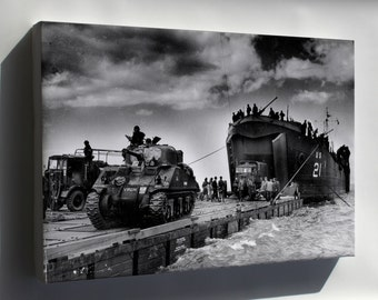 Canvas 24x36; Us Navy Lst Landing M4 Sherman Tank Normandy France