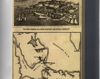 Canvas 16x24; Map Of Fortress Monroe And Surroundings Fort