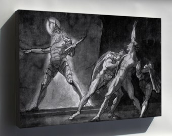 Canvas 16x24; Hamlet And His Father'S Ghost Henry Fuseli - Hamlet And His Father'S Ghost (1780-1785, Ink And Pencil On Cardboard, 38 × 49,5