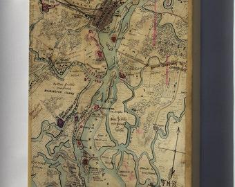 Canvas 16x24; Map Of Savannah, Georgia, Nov 1864