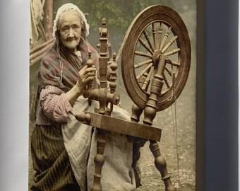 Canvas 16x24; Irish Spinning Wheel C1890