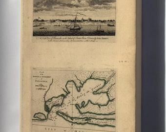 Canvas 16x24; View & Map Of Pensacola Florida 1768